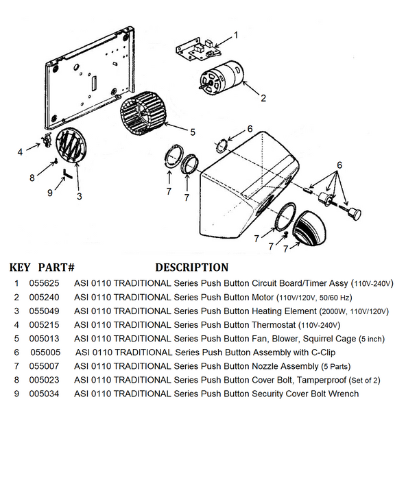 ASI 0110 TRADITIONAL Series Push-Button Model (110V/120V) COVER BOLTS (Part# 005023)