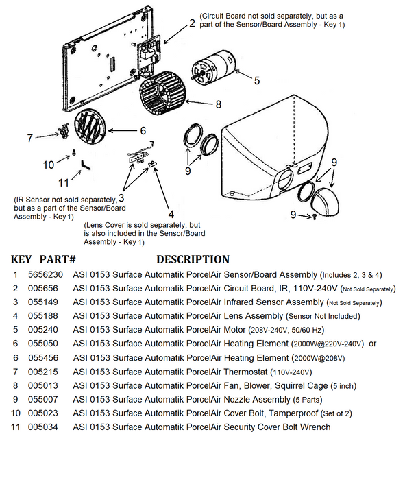 ASI 0153 PORCELAIR (Cast Iron) AUTOMATIK (208V-240V) COVER BOLTS (Part# 005023)-ASI (American Specialties, Inc.)-Allied Hand Dryer