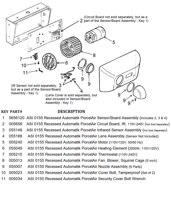 ASI 0155 Recessed PORCELAIR (Cast Iron) AUTOMATIK (110V/120V) COVER BOLTS (Part# 005023)-World Dryer-Allied Hand Dryer