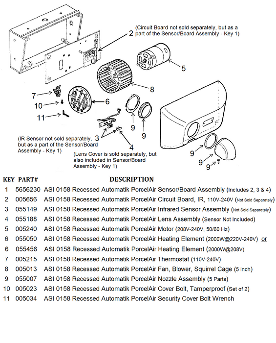 ASI 0158 Recessed PORCELAIR (Cast Iron) AUTOMATIK (208V-240V) MOTOR (Part# 055240)-World Dryer-Allied Hand Dryer