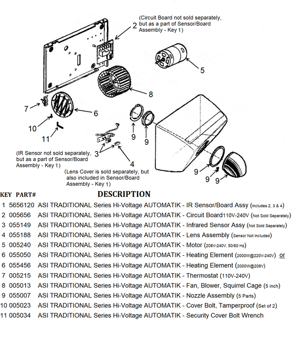 ASI AUTOMATIK (208V-240V) TRADITIONAL Series NO TOUCH Model INFRARED SENSOR ASSEMBLY (Part# 055149)-ASI (American Specialties, Inc.)-Allied Hand Dryer