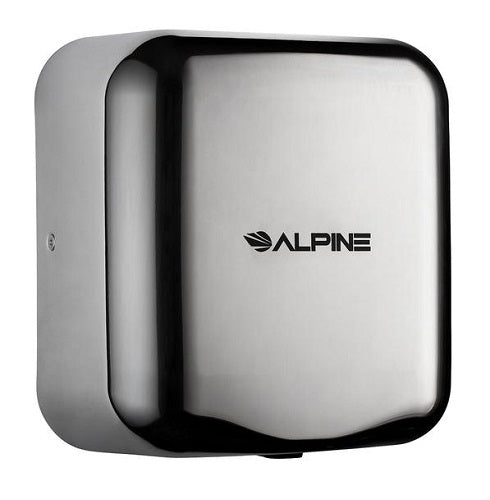"ALPINE 400-10-CHR HEMLOCK Polished ""Chrome"" Stainless Steel High-Speed Hand Dryer-Our Hand Dryer Manufacturers-Alpine Industries-110/120 Volt-Allied Hand Dryer"