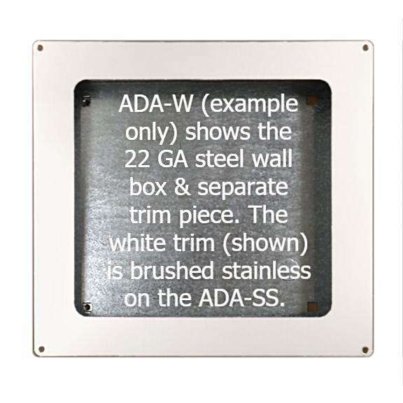 ADA-SS, American Dryer - Stainless Steel Recess Kit for GX, GXT9, EXT7, CPC9, & AD90 - DOES NOT INCLUDE HAND DRYER