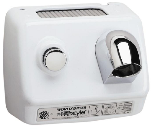 WORLD DRYER® B3-974 Airstyle™ Model B Series Hair Dryer - Cast-Iron White Porcelain Push Button Surface-Mounted (208V-240V)-Our Hand Dryer Manufacturers-World Dryer-208/230 volt hard wired-Allied Hand Dryer