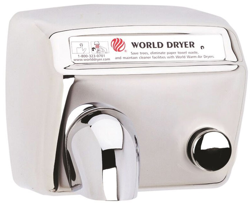 DA54-972, World Dryer Push-Button Polished Stainless Steel (208V-240V)-World Dryer-Allied Hand Dryer