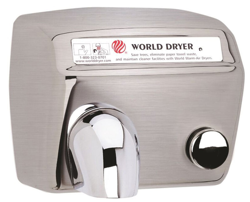 DA57-973, World Dryer Push-Button Brushed Stainless Steel (277V)