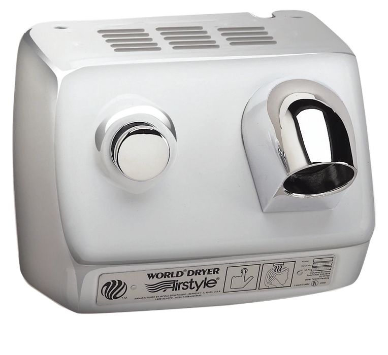 DB7-972, World HAIR Dryer Push-Button Polished Stainless Steel (277V)-World Dryer-Allied Hand Dryer
