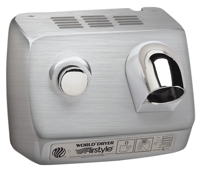 WORLD DRYER® DB-973 Airstyle™ Model B Series Hair Dryer - Stainless Steel Cover with Brushed (Satin) Finish Push Button Surface-Mounted-Our Hand Dryer Manufacturers-World Dryer-110/120 volt - 20 amp hard wired-Allied Hand Dryer