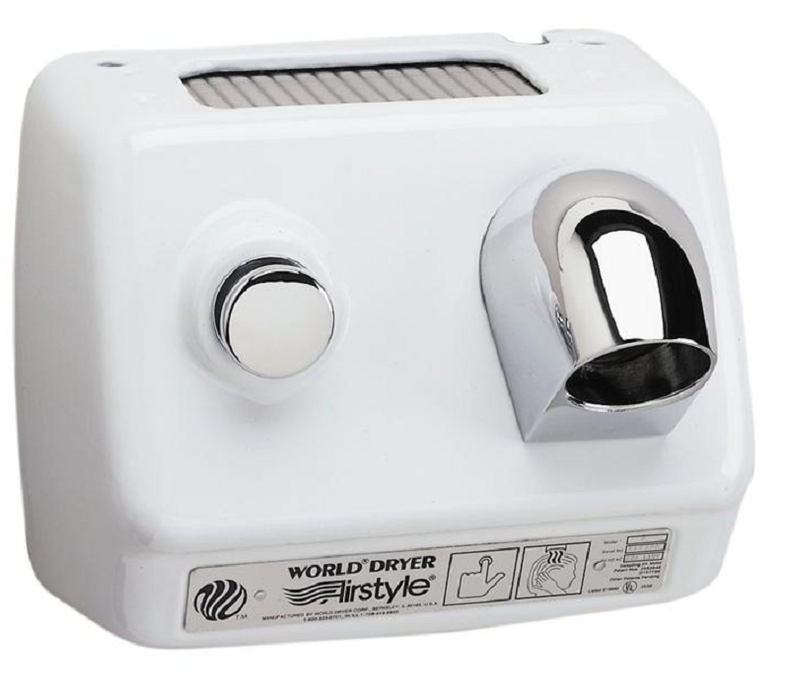 DB1-974, World HAIR Dryer Push-Button Stamped Steel White (115V - 15 Amp)