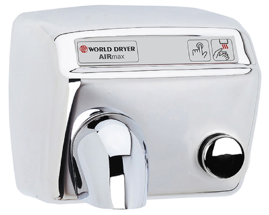 DM548-972, AirMax World Dryer Push-Button, Polished Stainless Steel (50 Hz - NOT for use in North America)-Our Hand Dryer Manufacturers-World Dryer-220/240 volt - 50 Hz - NOT Applicable in North America-Allied Hand Dryer