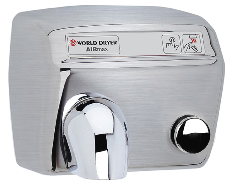 DM54-973, AirMax World Dryer Push-Button, Brushed Stainless Steel (208V-240V)-Our Hand Dryer Manufacturers-World Dryer-208-240 volt SS AIRMAX-Allied Hand Dryer