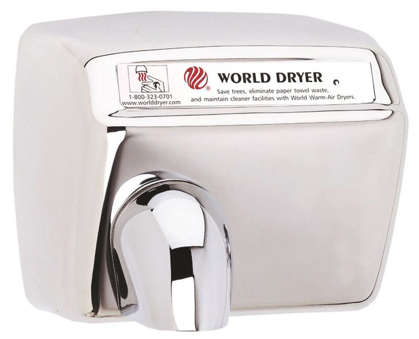 WORLD DRYER® DXA548-972 Model XA Series Hand Dryer - Polished (Bright) Stainless Steel Cover Automatic Surface-Mounted (50 Hz ONLY - NOT for use in North America)-Our Hand Dryer Manufacturers-World Dryer-220/240 volt - 50 Hz hard wired-Allied Hand Dryer