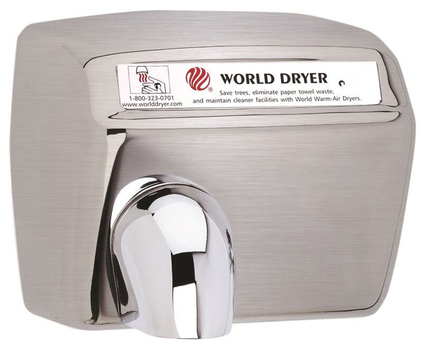 DXA54-973, World Dryer Automatic Brushed Stainless Steel (208V-240V)