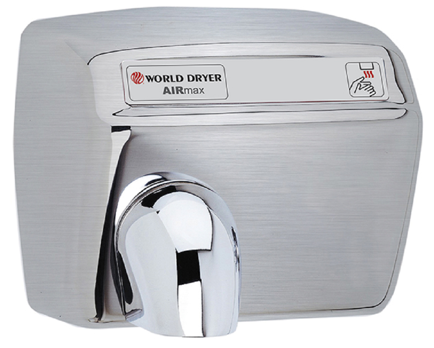 DXM54-973, AirMax World Dryer Automatic, Brushed Stainless Steel (208V-240V)-World Dryer-Allied Hand Dryer