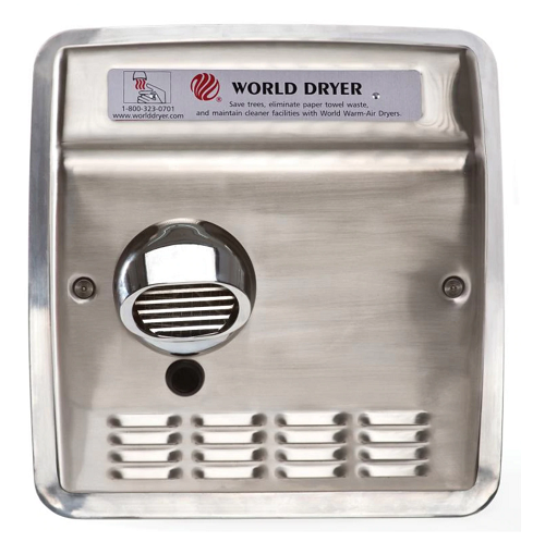 DXRA52-Q973, World Dryer Recessed Automatic Brushed Stainless Steel (115V - 15 Amp)-Our Hand Dryer Manufacturers-World Dryer-110/120 volt - 15 amp hard wired-Allied Hand Dryer
