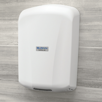 EHD-702-PW, Sloan Optima Air White High-Voltage (208V-277V) Surface Mounted ADA-Complaint Hand Dryer-Our Hand Dryer Manufacturers-Sloan-EHD-702-PW - 208-277 Volt-Allied Hand Dryer