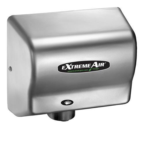 EXT7-C, American eXtremeAir - Steel Satin Chrome - Energy Efficient ECO (No Heat) - Universal Voltage - Automatic-American Dryer-Allied Hand Dryer
