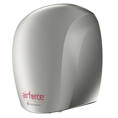 WORLD DRYER® J-971 Airforce™ Hand Dryer - Brushed (Satin) Chrome on Aluminum Automatic Surface-Mounted-Our Hand Dryer Manufacturers-World Dryer-J-971 AIRFORCE (110V/120V hard wired)-Allied Hand Dryer