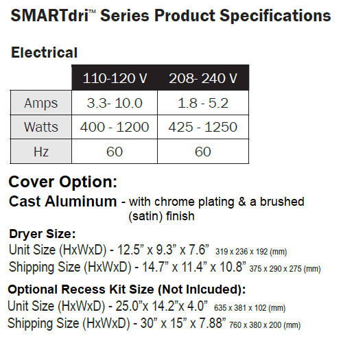 WORLD DRYER® K-971P  SMARTdri® Plus ***DISCONTINUED*** No Longer Available in BRUSHED CHROME - Please See K-973P2