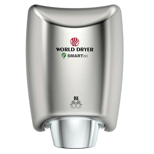WORLD DRYER® K-973P SMARTdri® Plus Hand Dryer - Brushed (Satin) Stainless Steel Automatic Surface-Mounted