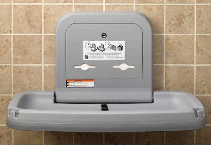 Koala Kare® KB200-01SS - Surface Horizontal Grey Baby Changing Station with Stainless Steel Veneer