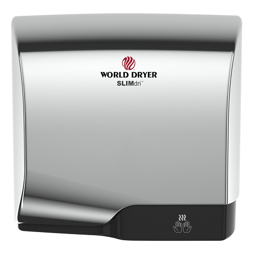 WORLD DRYER® L-970 SLIMdri® Hand Dryer - Polished (Bright) Chrome on Aluminum Automatic Universal Voltage Surface-Mounted ADA Compliant