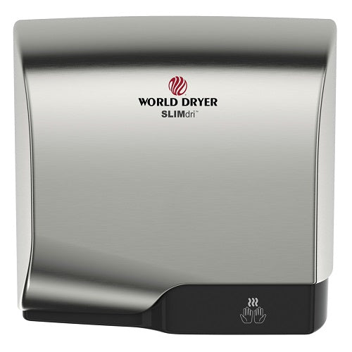 WORLD DRYER® L-971 SLIMdri® Hand Dryer - Brushed (Satin) Chrome on Aluminum Automatic Universal Voltage Surface-Mounted ADA Compliant