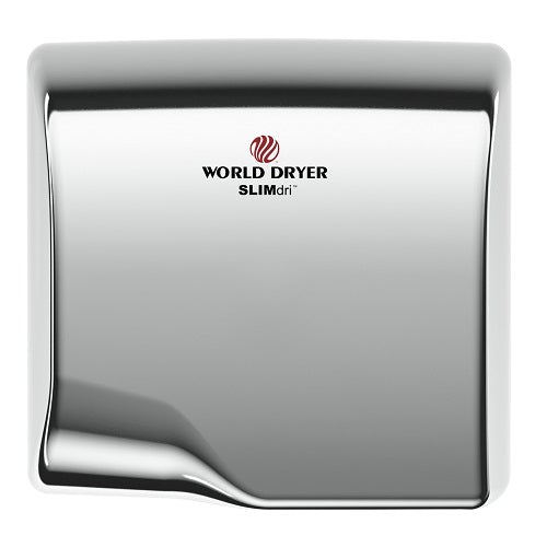 WORLD DRYER® L-972 SLIMdri® Hand Dryer - Polished (Bright) Stainless Steel Automatic Universal Voltage Surface-Mounted ADA Compliant