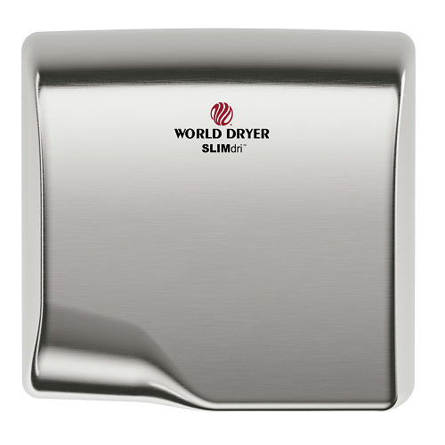 WORLD DRYER® L-973 SLIMdri® Hand Dryer - Automatic Brushed Stainless Steel Universal Voltage Surface-Mounted ADA Compliant