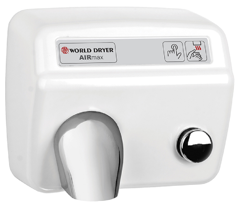 M5-974, AirMax World Dryer Cast Iron White Push-Button-Our Hand Dryer Manufacturers-World Dryer-110/120 volt - 20 amp AIRMAX hard wired-Allied Hand Dryer