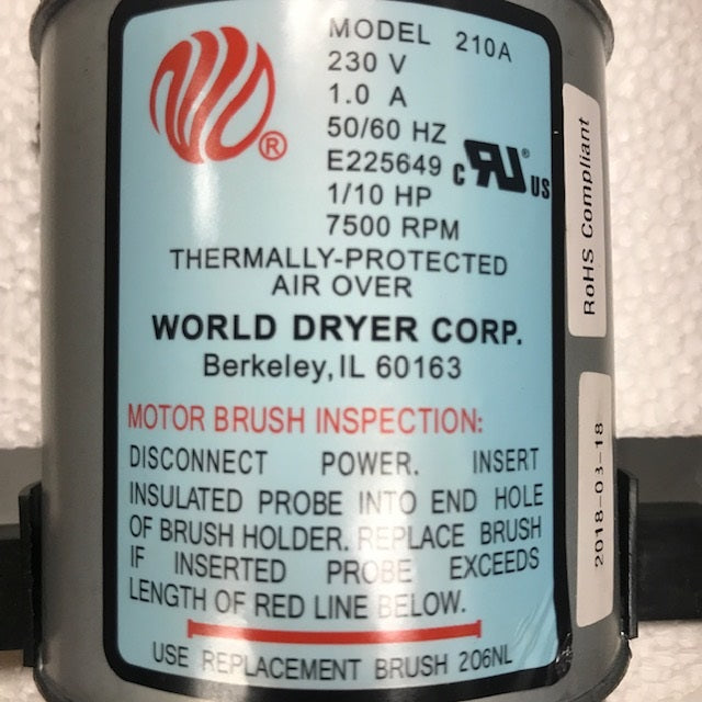 WORLD DXRA54-Q973 (208V-240V) MOTOR ASSEMBLY with MOTOR BRUSHES (Part# 210K)-World Dryer-Allied Hand Dryer