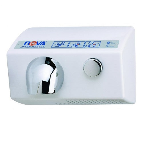 WORLD DRYER® NOVA® 5 (0112 and 0122) Hand Dryer - White Aluminum Surface-Mounted Push Button