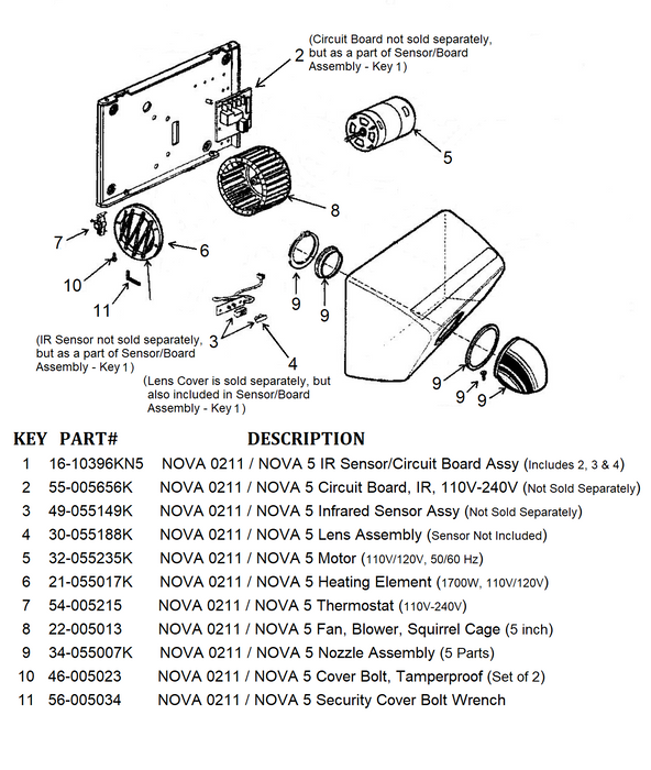 NOVA 0211 / NOVA 5 (110V/120V) Automatic Model COVER BOLTS (Part# 46-005023) - Allied Hand Dryer