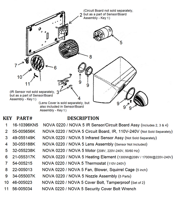 NOVA 0220 / NOVA 5 (208V-240V) Automatic Model NOZZLE ASSEMBLY (Part# 34-055007K) - Allied Hand Dryer