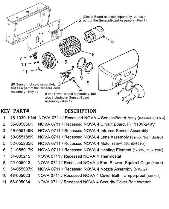 NOVA 0711 / Recessed NOVA 4 (110V/120V) Automatic Cast Iron Model INFRARED SENSOR and IR CIRCUIT BOARD ASSEMBLY (Part# 16-10391KN4)-World Dryer-Allied Hand Dryer