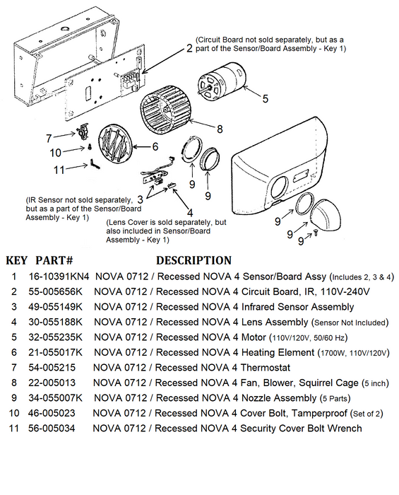 NOVA 0712 / Recessed NOVA 4 (110V/120V) Automatic Cast Iron Model INFRARED SENSOR and IR CIRCUIT BOARD ASSEMBLY (Part# 16-10391KN4)-Hand Dryer Parts-World Dryer-Allied Hand Dryer
