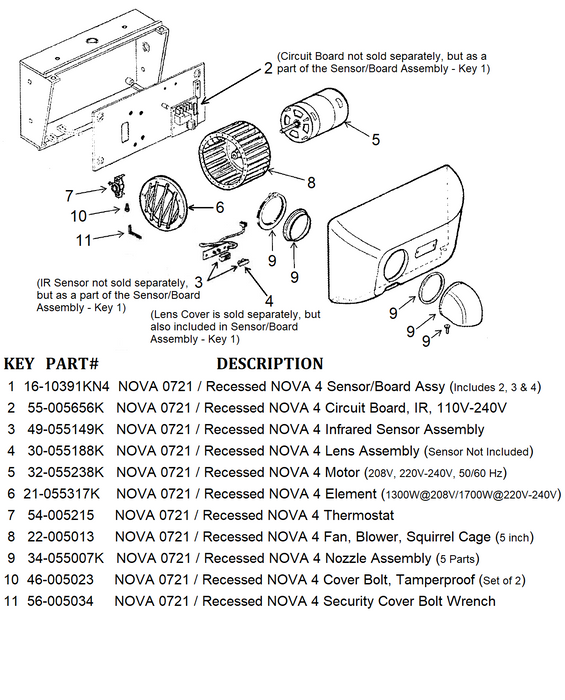 NOVA 0721 / Recessed NOVA 4 (208V-240V) Automatic Cast Iron Model HEATING ELEMENT (1300 to 1700 Watts) Part# 21-055317K-World Dryer-Allied Hand Dryer