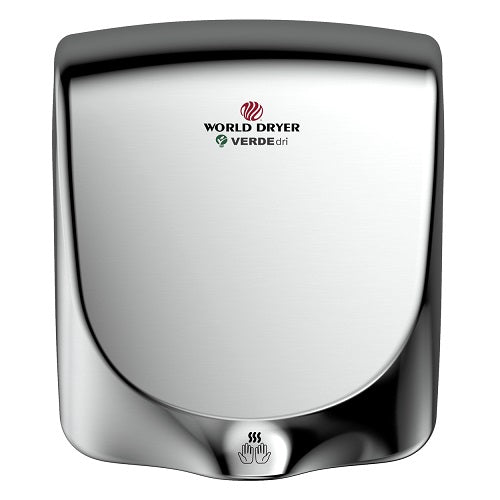 WORLD DRYER® Q-972 VERDEdri™ Hand Dryer - Polished (Bright) Stainless Steel Automatic Universal Voltage Surface-Mounted ADA Compliant-Our Hand Dryer Manufacturers-World Dryer-Allied Hand Dryer