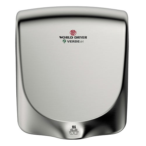 WORLD DRYER® Q-973 VERDEdri™ Hand Dryer - Brushed (Satin) Stainless Steel Automatic Universal Voltage Surface-Mounted ADA Compliant-Our Hand Dryer Manufacturers-World Dryer-Allied Hand Dryer