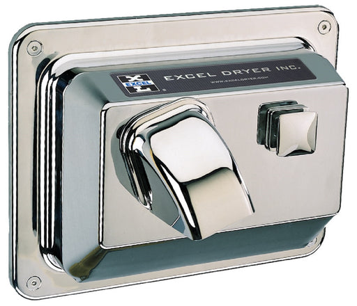 R76-C, Excel Dryer Hands-On Push-Button Recessed Chrome Hand Dryer-Excel-Allied Hand Dryer