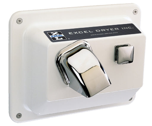 R76-W, Excel Dryer Hands-On Push-Button Recessed White Metal Hand Dryer