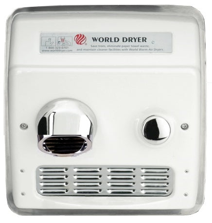 RA54-Q974, World Dryer Push-Button Recessed Cast Iron (208V-240V) - Allied Hand Dryer