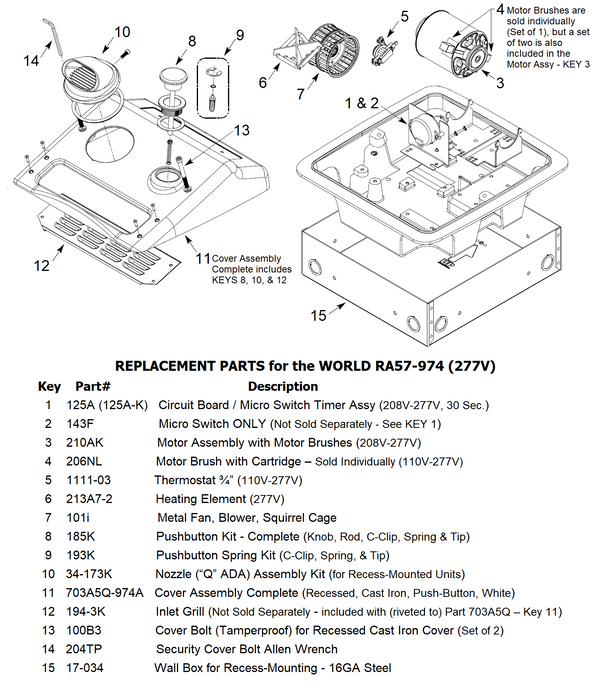 WORLD RA57-Q974 (277V) COVER ASSEMBLY COMPLETE (Part# 703A)-World Dryer-Allied Hand Dryer