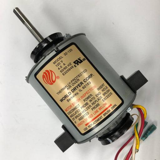 WORLD SLIMdri L-970 MOTOR ASSEMBLY COMPLETE with MOTOR BRUSHES (Part# 32-120AK) - Allied Hand Dryer