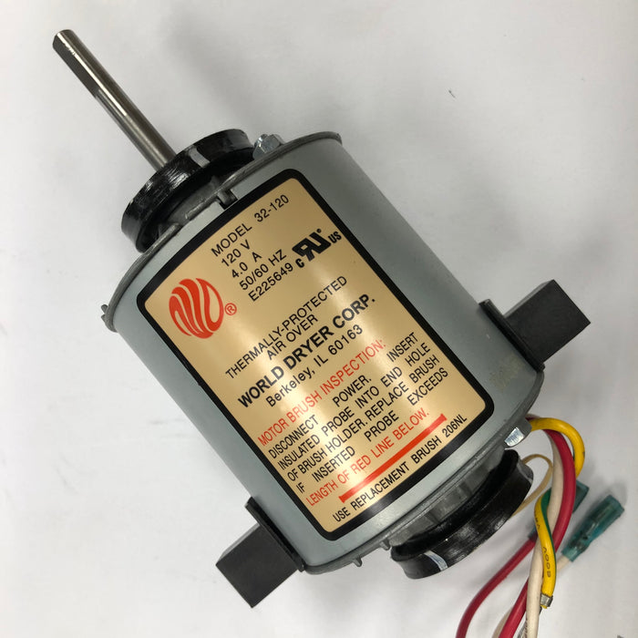 WORLD SLIMdri L-972 MOTOR ASSEMBLY COMPLETE with MOTOR BRUSHES (Part# 32-120AK) - Allied Hand Dryer