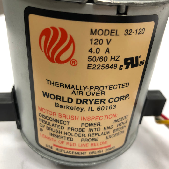WORLD SLIMdri L-162 MOTOR ASSEMBLY COMPLETE with MOTOR BRUSHES (Part# 32-120AK)-World Dryer-Allied Hand Dryer