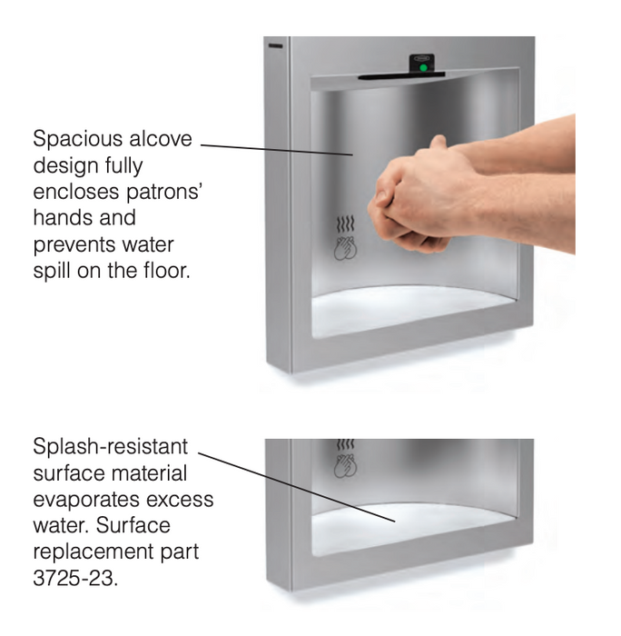 Bobrick B-3725 TrimLine Recessed Automatic Hand Dryer-Bobrick-Allied Hand Dryer