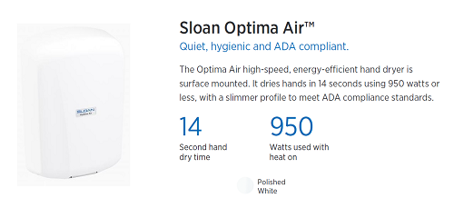 EHD-701-PW, Sloan Optima Air White Surface Mounted ADA-Complaint Hand Dryer-Sloan-Allied Hand Dryer
