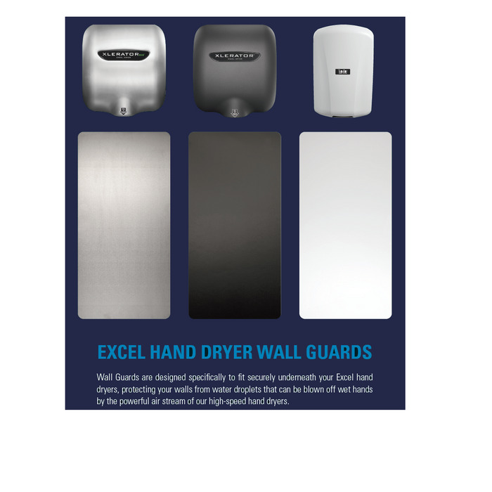 89W, Excel XLERATOR Wall Guard White (Set of 2)-Excel-Allied Hand Dryer