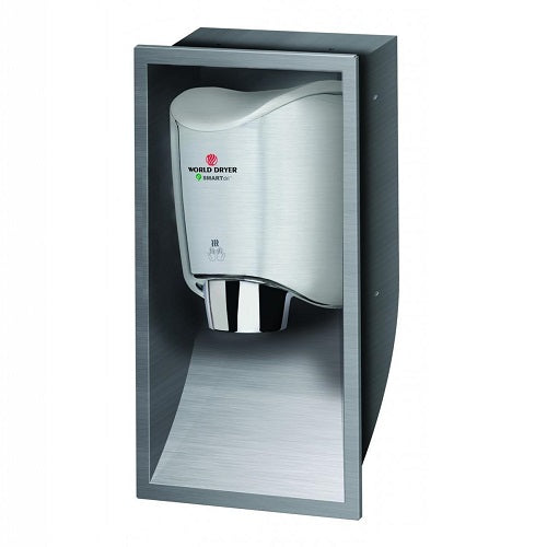 WORLD DRYER® KKR-973 SMARTdri® K-Series RECESS KIT - Brushed (Satin) Stainless Steel (HAND DRYER NOT INCLUDED)